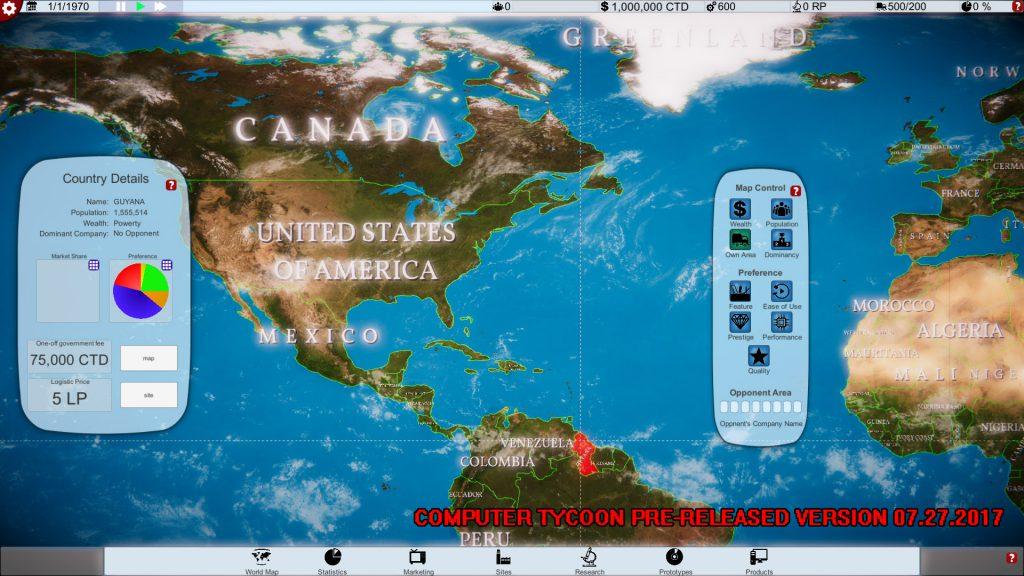 Computer Tycoon - America on the WorldMap